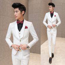 White Wedding Tuxedos For Men 2016 Brand Pressing Rose Print Elegant Vintage Suits Men Slim Fit Prom Groom Suit Jacket+Vest+Pant