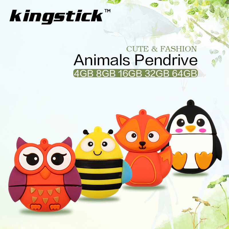 New Cartoon pendrive Cute Owl Fox Bee Penguin USB 2.0 pen drive 4GB 8GB 16GB 32GB 64GB USB Flash Drive mini gift memory stick(China (Mainland))