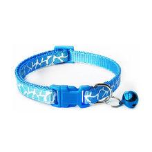 Nuevo Collar de poliéster ajustable de cachorro de dibujos animados bonitos Collar de perro de gato con estampado de campanas suministro de Collar(China)