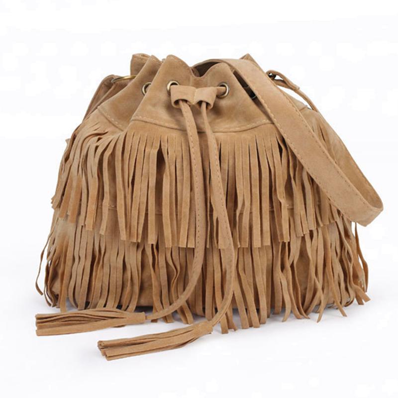 2016 Retro Faux Suede Fringe Women Bag Messenger Bags New Handbag Tassel Shoulder Handbags Crossbody Gift Free Shipping A103(China (Mainland))