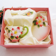 Jingdezhen bone manual kneading carved enamel color Redbud coffee cup saucer spoon three gift sets
