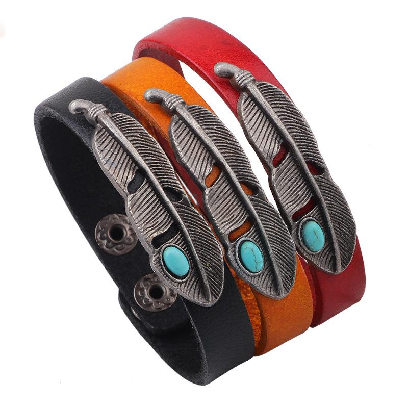 2016 Retro Leather Leaf Button Bracelet Womens Male Pulseiras Masculinos Best Friends Braclets Braslet Ladies Braclet femme(China (Mainland))