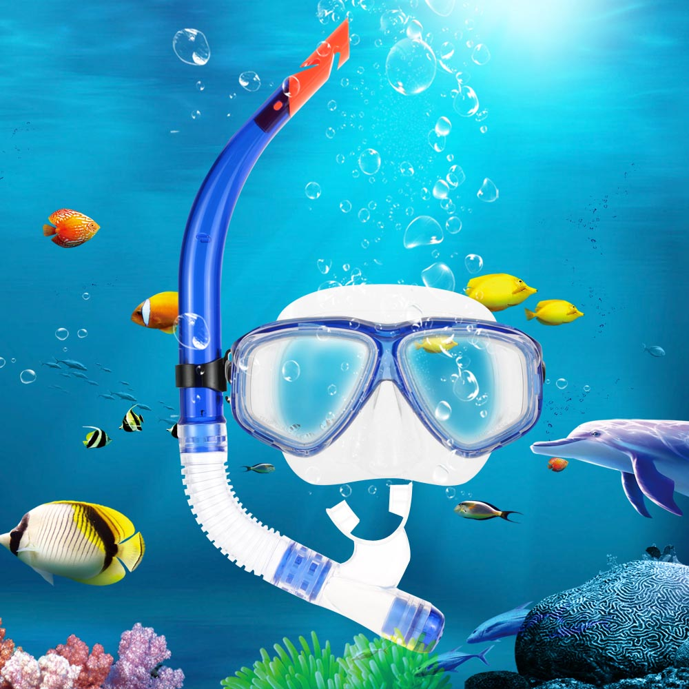 Professional Tempered Glass Diving Mask Goggles + Half Dry Snorkel Tube dult Scuba Snorkeling Swimming Set(China (Mainland))