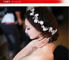 handmade bride hair accessory wedding hair accessories lace white flowers hair maker pearl hair accessories(China (Mainland))
