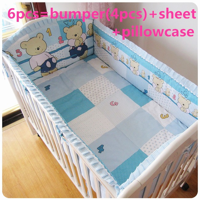 Promotion! 6PCS  baby cot bumper kid crib bedding set , include(bumpers+sheet+pillow cover)<br><br>Aliexpress