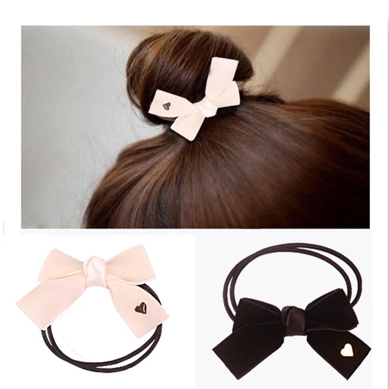 2016 Cute Kids Bows Elastic Hair Bands 2 Color/Lot Four Velvet Hair Band Heart Decoration Girls Hair Accessories RDFQ01902(China (Mainland))