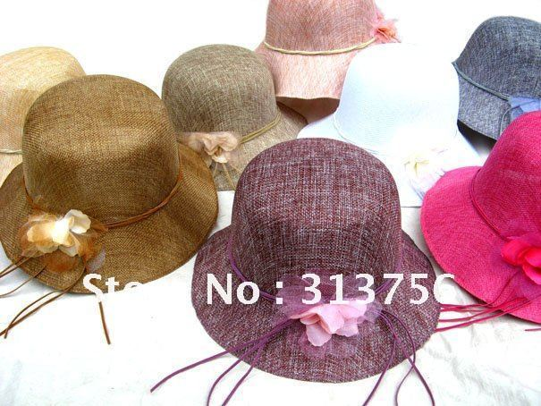 1 DOZEN OK!!! WHOLESALE LININ CLOCHE WOMEN SUMMER SUN STRAW HAT
