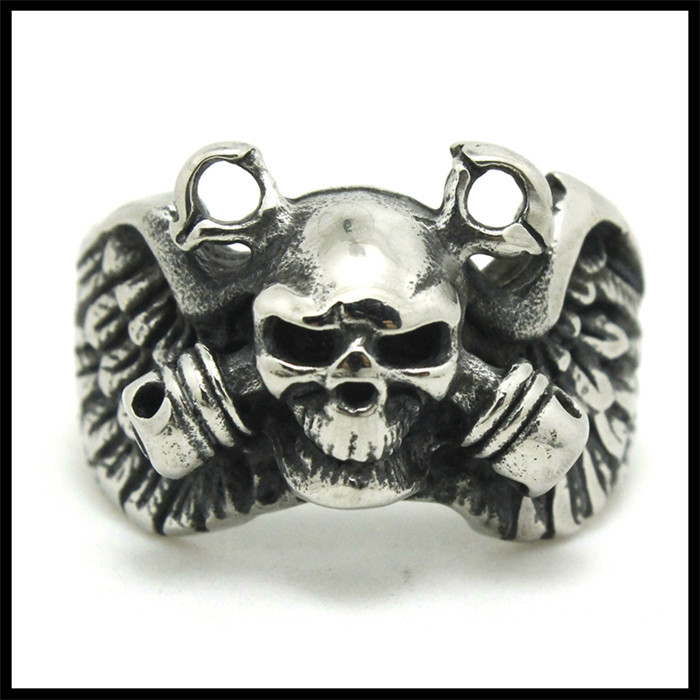 1 pc Double Gun Skull 316L Stainless Steel Hot Selling Awesome Skull Ring(China (Mainland))