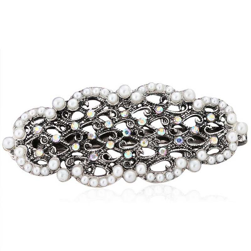 Fashion Brand Lady Buckle Hair Jewelry Rhinestone Hairpins With Pearl Women Beauty Ponytail Spring Barrette(China (Mainland))