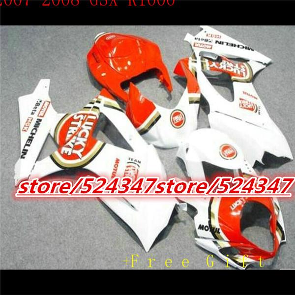 Hot sales GSX - R1000 K7 07,08 GSX R1000 movement fairing kit K7 07-08 white orange exercise bike cheap motorcycle at 3 o 'clock(China (Mainland))