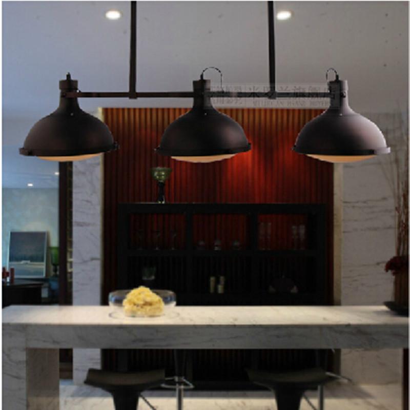 Rh2 loft vintage three heads pendant lights industrial for Luminaire bar cuisine