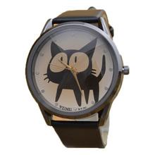 Minimum order amount US$15 (can mix order) new fashion lady girl woman child children 6 color cute big eye black cat wrist watch