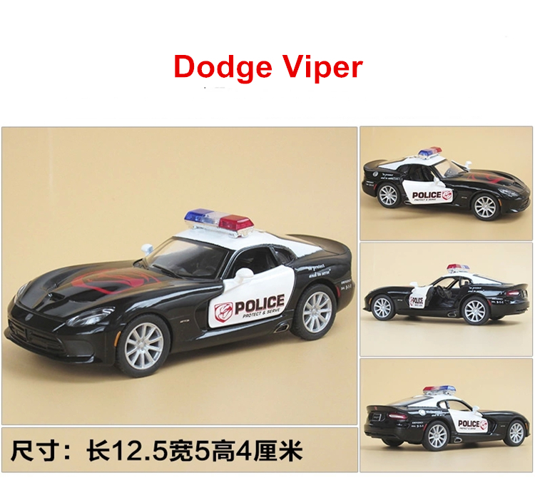Kinsmart toys Brand New police car Dodge Viper Diecast 1/36 large Alloy car model by Soft-World Classic Pull Back Open Door(China (Mainland))