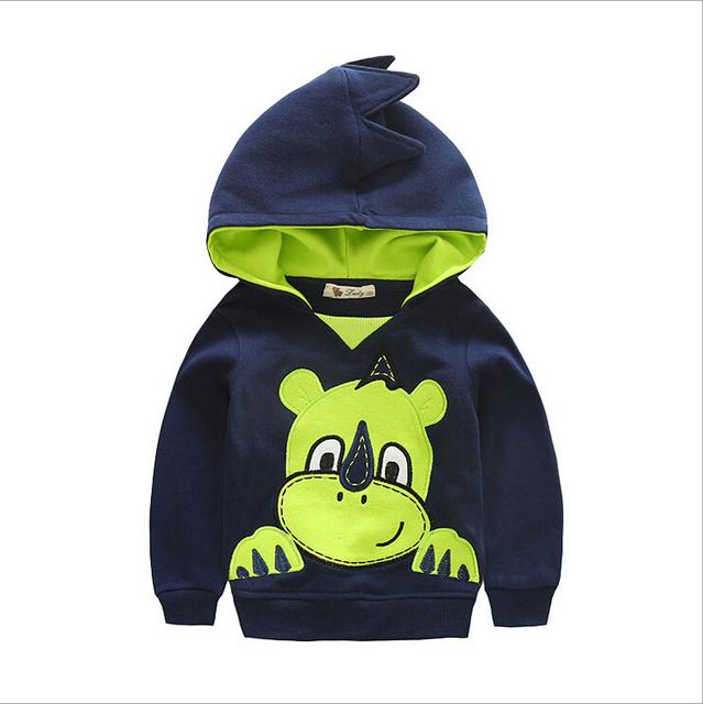 2015 детский свитер с капюшоном Хлопок Кофты весна Осень мальчик Толстовки Мультфильм носорог шаблон С Длинными рукавами Кофты