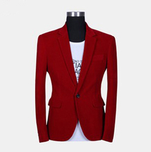 2013 blazer male slim fashion quality red velvet suit casual blazer
