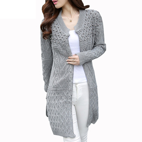 2016 Autumn Winter Women Long Cardigan Bead Pearl Long Knitted font b Sweaters b font font