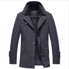2014 Men Thicken wool jacket autumn and winter mens windbreaker men fur colla trench coat thick men outerwexar in stock(China (Mainland))