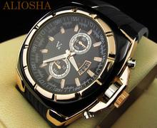Aliosha Vogue V6 marca hombre de la astilla caso grandes deportes de marcado Casual cuarzo reloj de pulsera tiras hora marca Dial redondo bandas de silicona