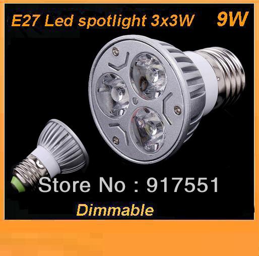 shipping free 10pcs/lot MR16/GU10/E27 3x3W 9W Dimmable LED Lights Downlight Led Lamp lighting Bulb Warm / pure White Spotlight