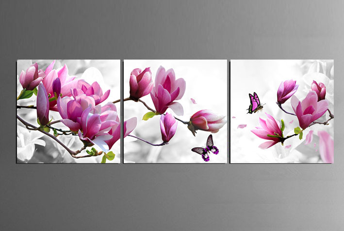 3 Piece Free Shipping Hot Sell Modern Wall Painting purple pink blue flower Home Decorative Art Picture Paint on Canvas Prints(China (Mainland))