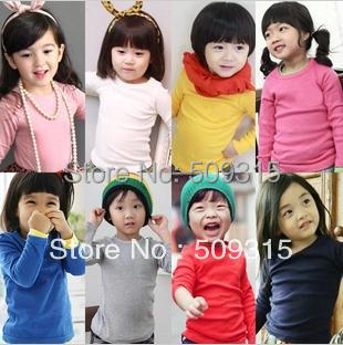 2014 childrens 100% cotton candy color o-neck sanded basic T-shirt long-sleeve shirt baby t-shirt child tshirt 5pcs/lot<br><br>Aliexpress
