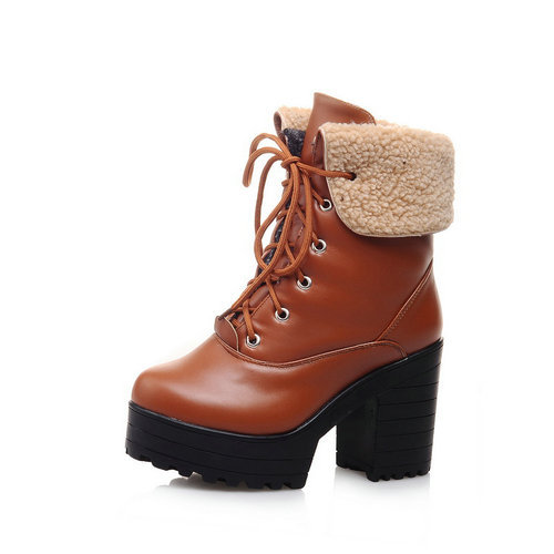 Women Ankle Boots 2015 Round toe Square Heel Lace-up High Heel Shoes Woman Fur inside Warm Winter Boots Snow Boots