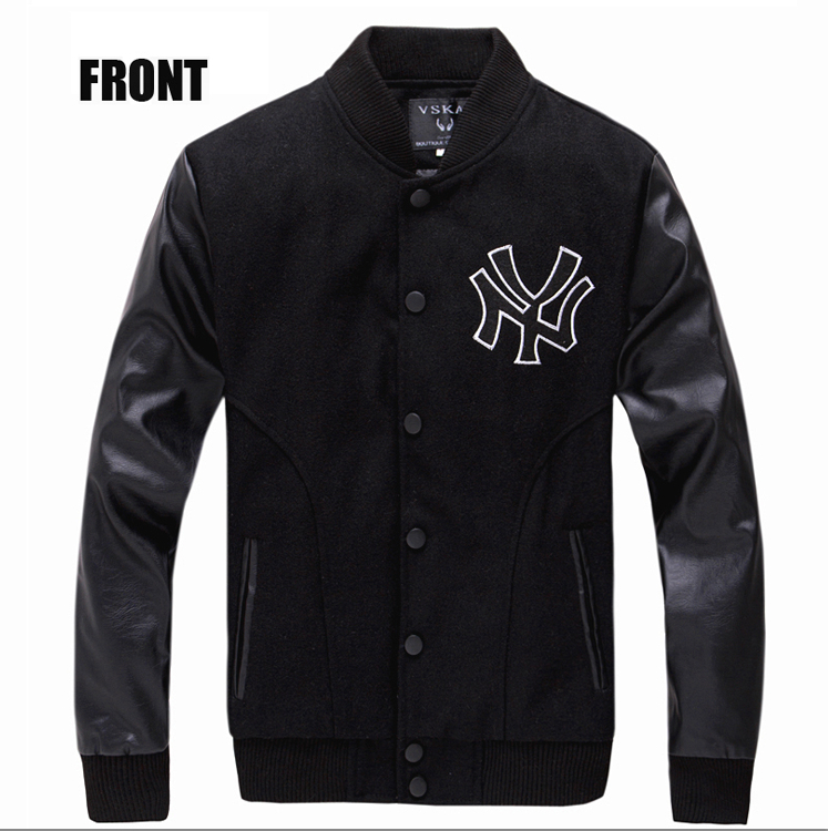 2015 New Arrival Slim Black Jacket Man Spring Fashion Single Breasted PU Leather Patchwork Baseball Jackets Men M-XXL(China (Mainland))