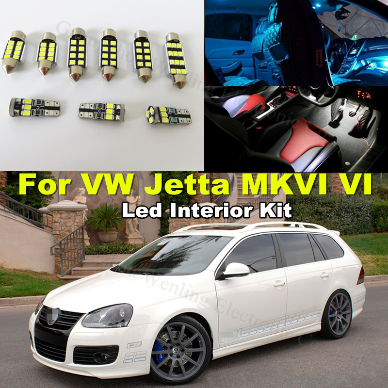9x Lights T10 W5W 36MM C5W Car LED Canbus Interior Lighting kit Volkswagen VW Jetta VI MK6 Sedan 2011 2012 2013 2014 2015 - WLJH Carparts Store store