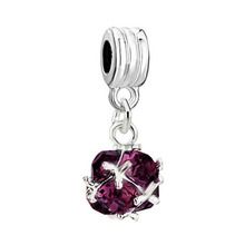 2016 New Purple Stone Hanging Pulseiras Crystal Pendant Bracelet Charms Fits Pandora European Chain Jewelry Accessories