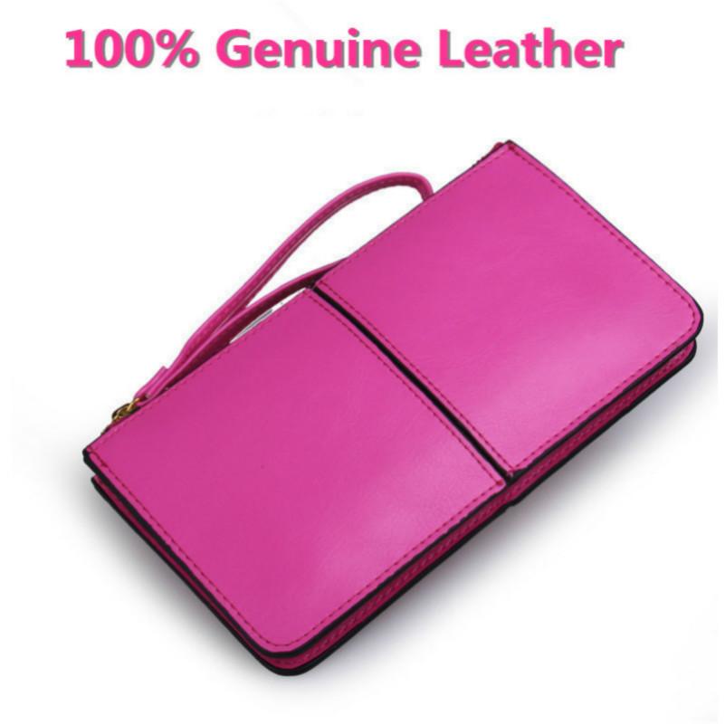 2017 Oil Wax Leather Women Wallet Brands Designer Wallet Women Korean Zipper Purse Large Capacity For Women Strap Wallet(China (Mainland))
