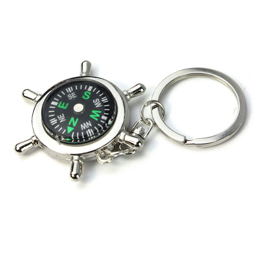 Hot Necessary Outdoor Hiking Travel Compass Portable Helm Keychain Ring Chain Gift Alloy Silver Nautical Compass(China (Mainland))