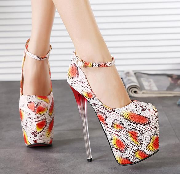 Women Shoes Promotion 2015 Spring Fashion Shallow Mouth 19cm Ultra High Heels Serpentine Pattern Women's Thin