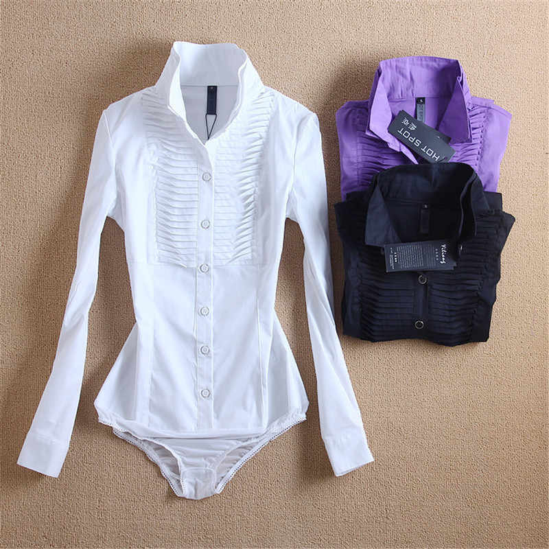 New Arrivals Women Body Blouse Shirt White Long Sleeve Blusas Elegant Tops Female Tunic Blouses Feminina Solid Blusa #B7(China (Mainland))