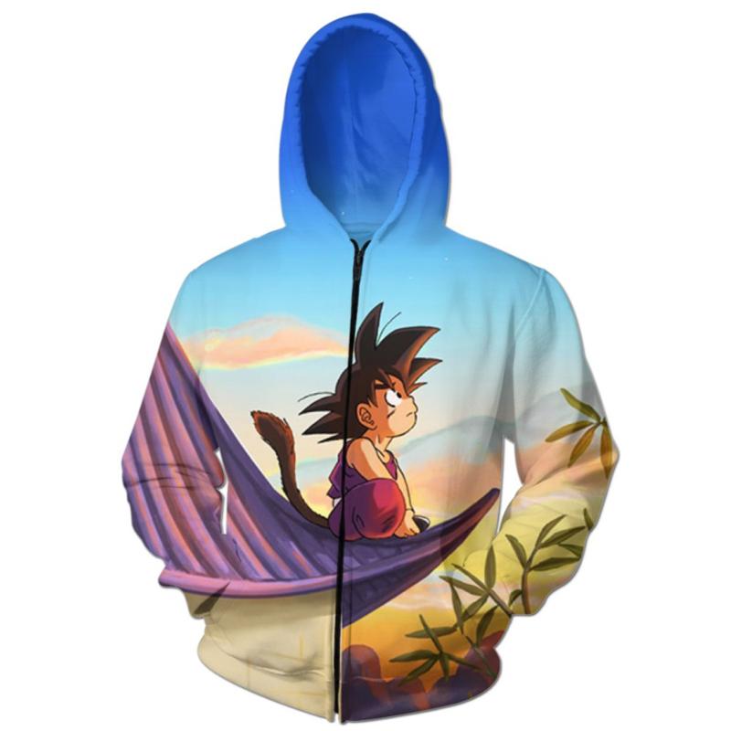 YNM Dragon Ball Super Saiyan Goku sunset hooded sweatshirts 3d printed zipper zip-up coat unisex pullovers classic anime outwear(China (Mainland))