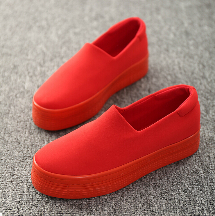 2015 Fashion Spring Autumn Solid Canvas Shoes Women Sport Running Platform Red Black High Top Sneakers #383 - Foothold. store