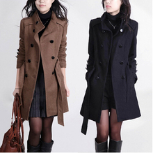 2015 New Women Trench Woolen Coat Winter Slim Double Breasted Overcoat Winter Coats Long Outerwear for Women QB323(China (Mainland))