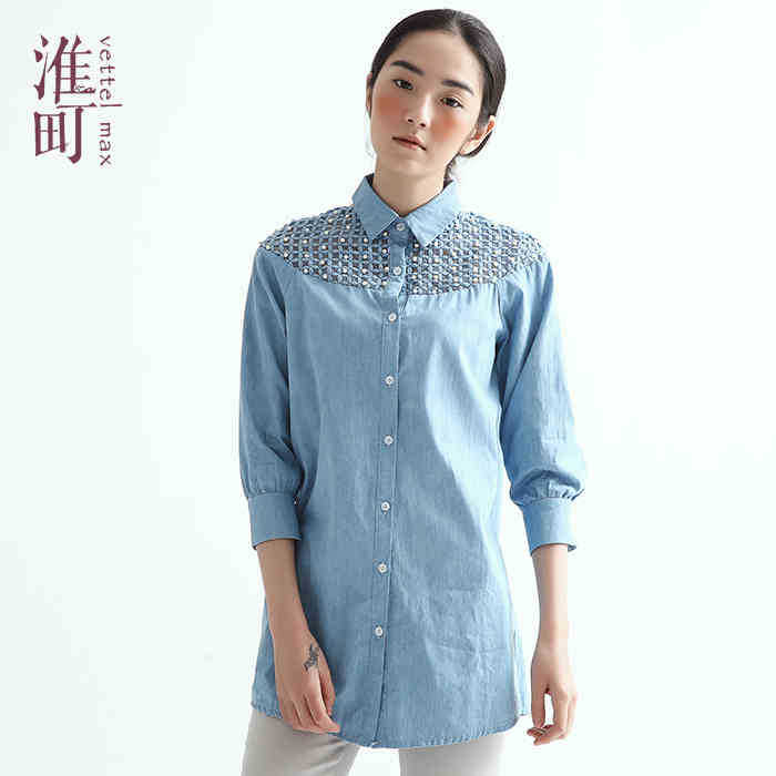 Bales mail the new 2015 chun xia light the original 5 sleeve lapel shirt and leisure summer style summer dress(China (Mainland))