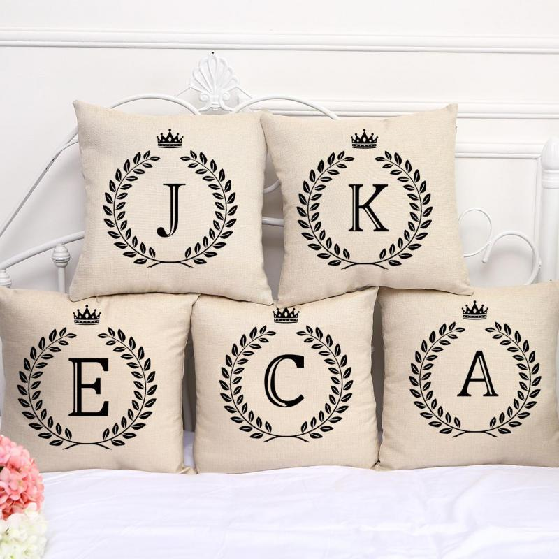 Factory Wholesale Customized English Letter Stamp Cotton Linen Decorative Pillow Sofa Car Seat Cushion For Children Gift(China (Mainland))
