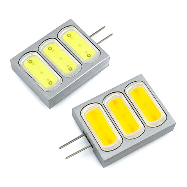 Aluminum Square Led G4 Bi-Pin 12V DC 3 Leds COB Chip LED Light (10pcs/lot)(China (Mainland))