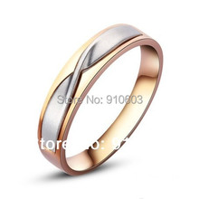 9K Pure Gold Men's Ring With No Diamond Of Tie Style Engagement And Wedding Ring Two-tone Gold Ring For Men Not Simulated(China (Mainland))