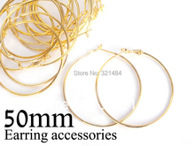 Bulk 500pc/lot gold plated 50mm french circle hooks earring backs hoop earring findings for jewelry making supplies