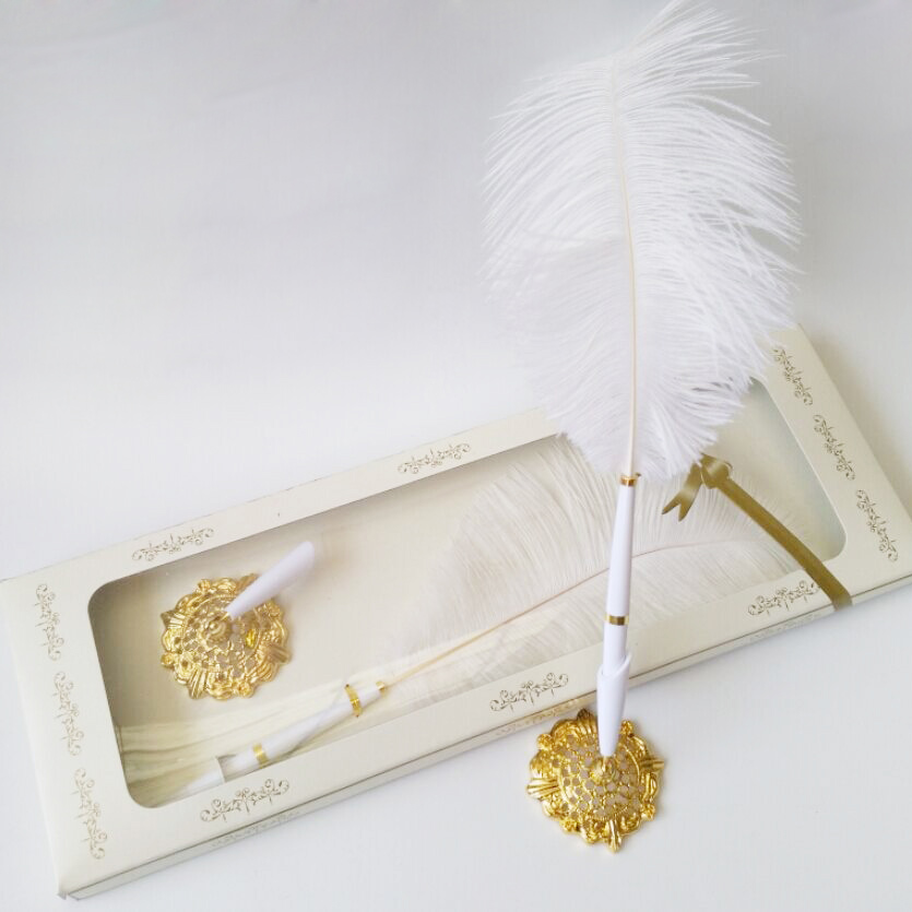 New Arrival New Pretty Wedding Ostrich White Feather/Long Quill Guest Book Signing Pen with Golden Pad In retail box(China (Mainland))