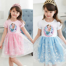 New summer anna girl kids clothing dress cartoon elsa & anna pattern princess dress brands Cosplay Snow Queen Girls lace dresses
