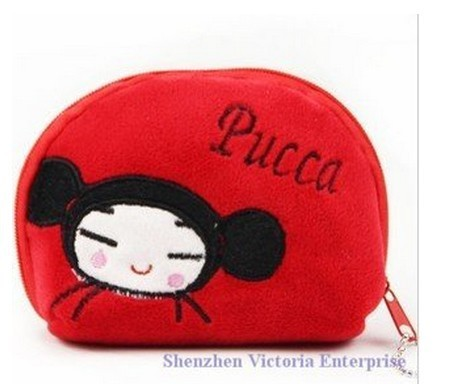 Half-Round Plush Coin Purse & Wallet Pouch Case BAG Pendant Bags Beauty Holder Handbag ; 10PCS Pucca(China (Mainland))