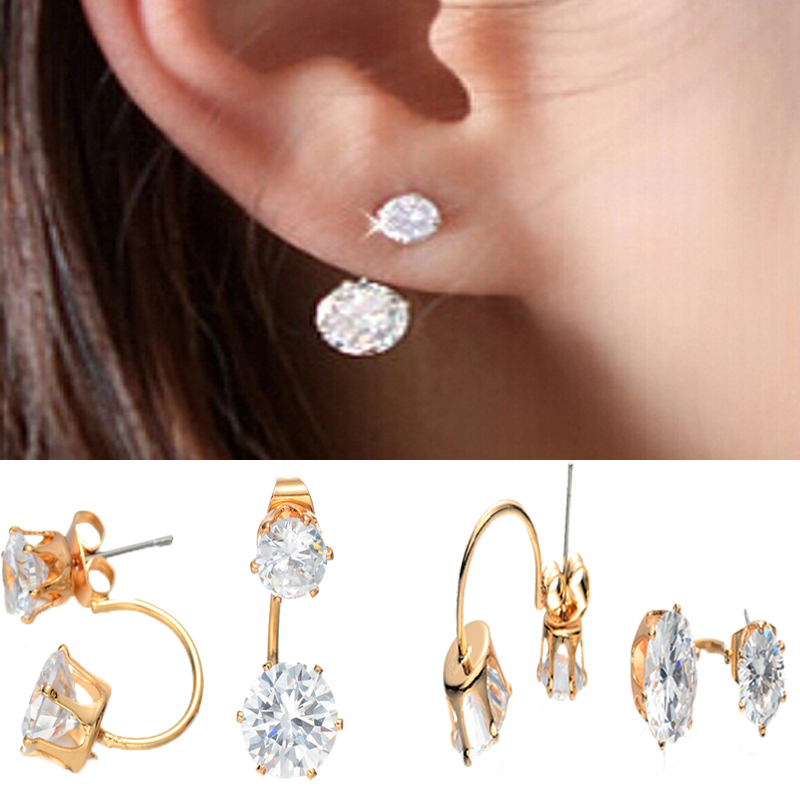 18K Gold Plated Double Side Crystal Stud Earrings For Women Zircon Crown Earing Pendientes Earings Fine Jewelry E-0222(China (Mainland))