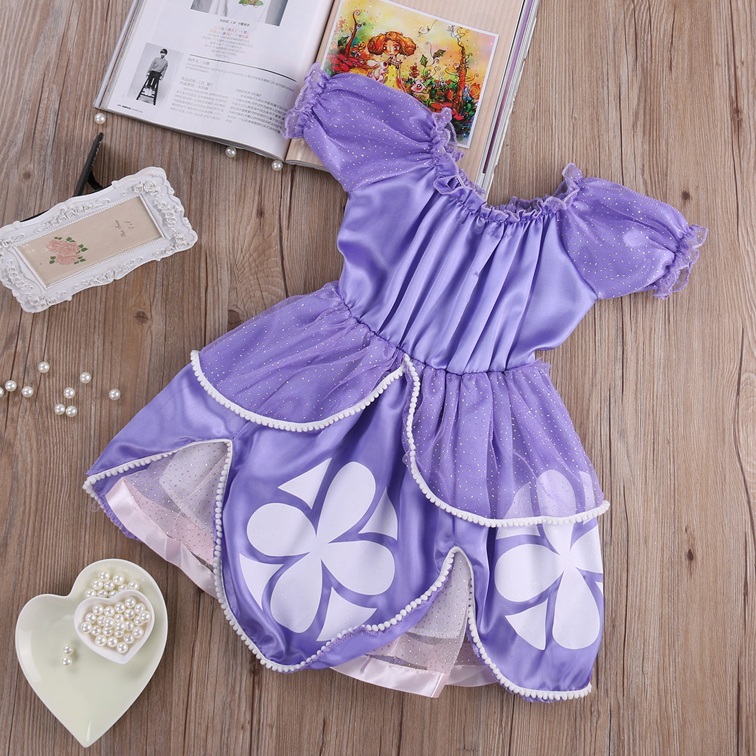 2016 Fancy Dress Baby Girls Kids Clothes Cartoon Sofia Purple Pageant Princess Party Costume Dress