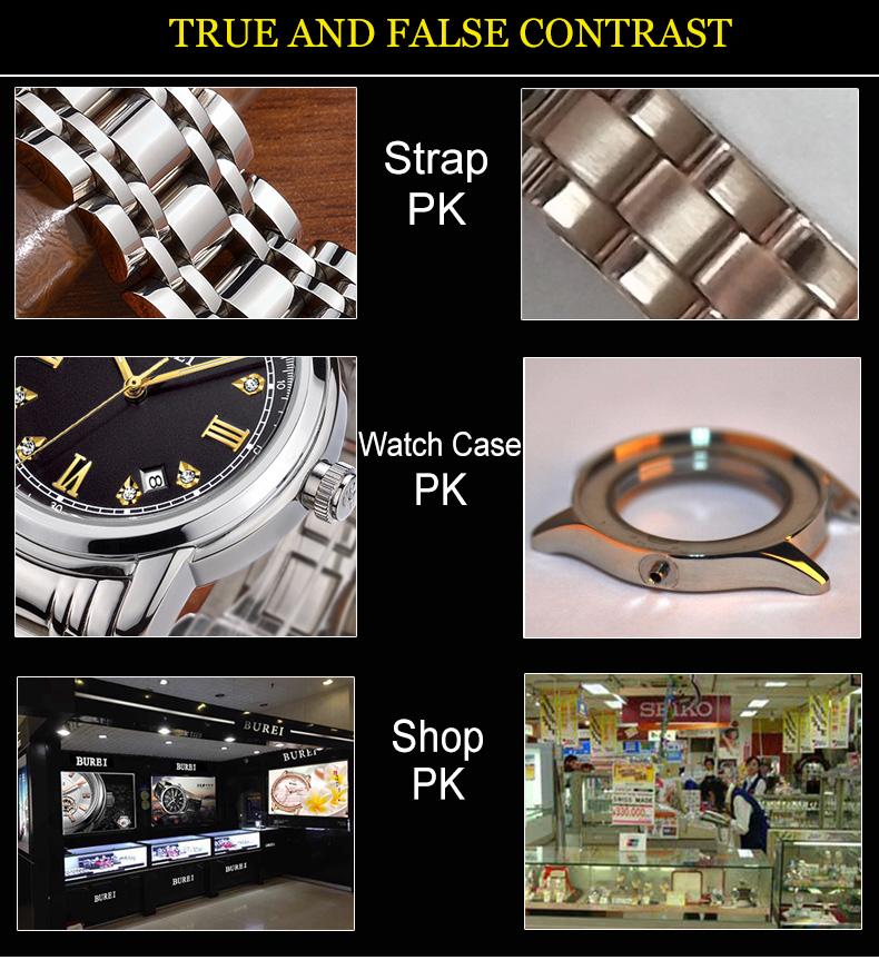 BUREI Автоматическая SelfWind Смотреть Мужчины Из Нержавеющей Стали Роскошные Стразы Бизнес Наручные Часы Водонепроницаемый Мужские Часы Relojes Hombre