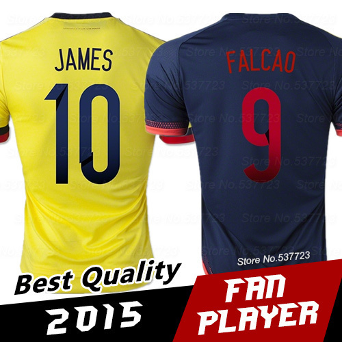 Colombia 2015 Soccer Jerseys World Cup Colombia jerseys JAMES FALCAO Top Thai Quality Colombia Survetement Football Jersey Shirt(China (Mainland))