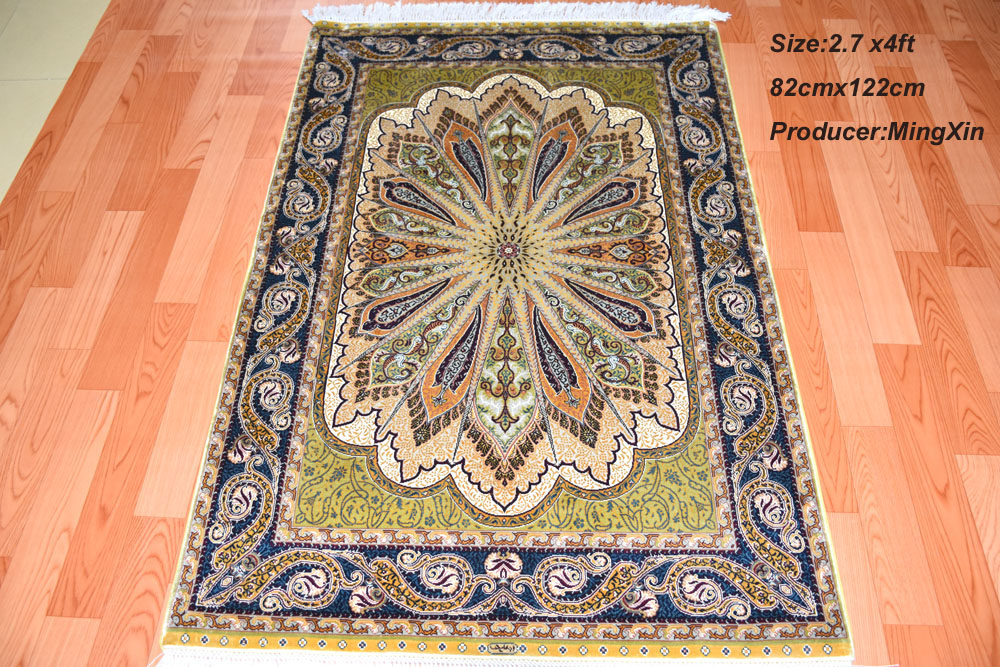 82cmx122cm Chinese oriental handknotted silk carpet /rugs top quality wholesale price 2016 popular style(China (Mainland))
