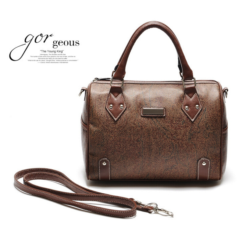 2015 European Vintage Boston Women Handbag Brown Messenger bags Bucket Bowling Office Bag Coffee Color High Quality Leather tote(China (Mainland))